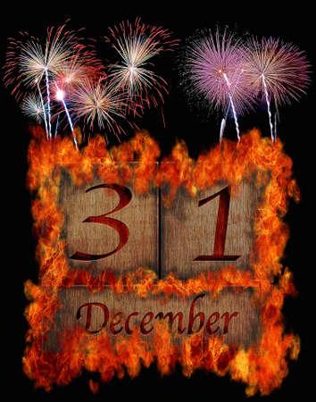 Illustration with a burning wooden calendar December 31  illustration