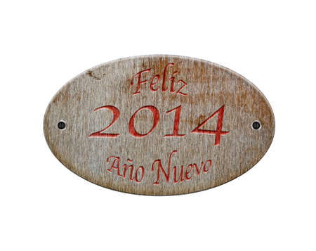 Illustration with a wooden sign of Happy 2014  illustration