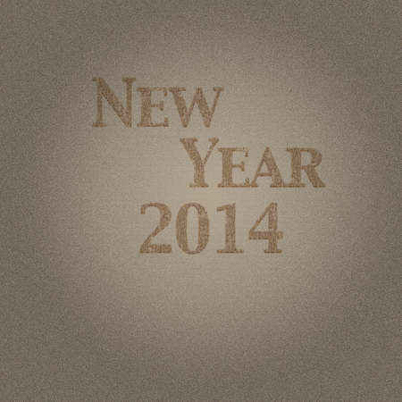 Illustration with wood effect and New year 2014  illustration