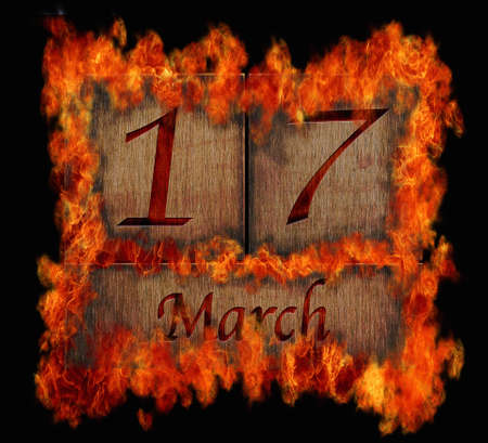 march 17: Illustration with a burning wooden calendar March 17