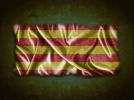catalonia: Illustration with a vintage Catalonia flag on green background