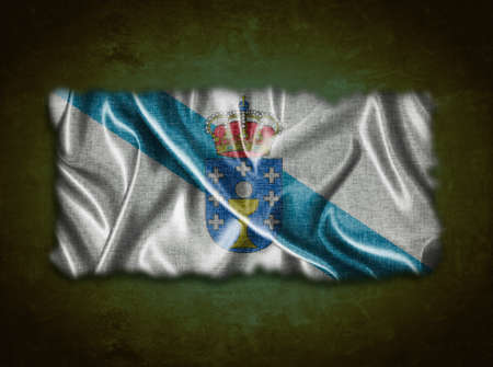 orense: Illustration with a vintage Galicia flag on green background  Stock Photo