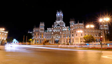 View of Cibeles Palace night in Madrid, Spain