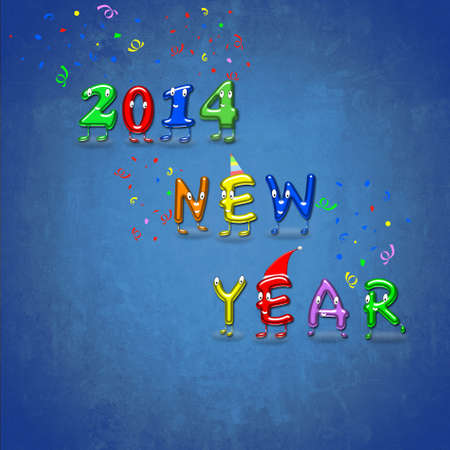 Illustration with a Happy New Year 2014 Stock Illustration - 23083429