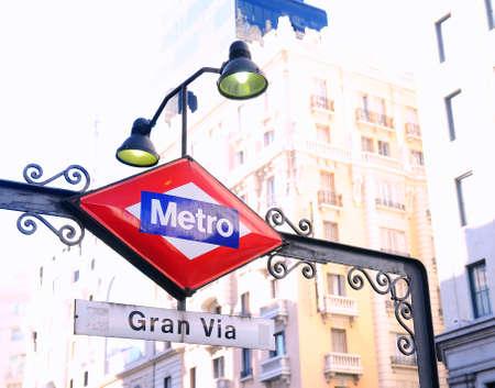 gran via: Gran Via metro station sign in Madrid, Spain