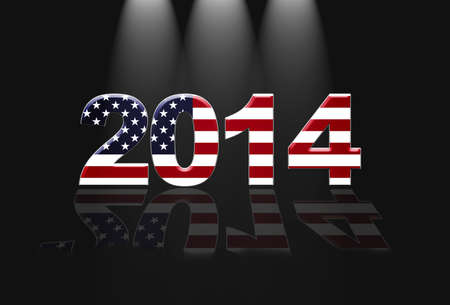Illustration with Usa new year  2014 on black background  illustration