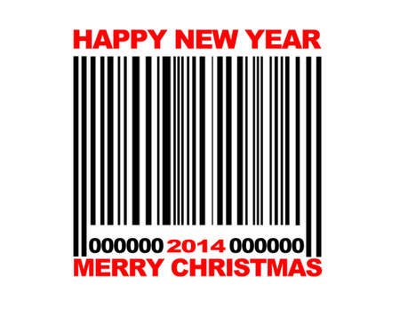 Illustration with a Barcode Merry Christmas 2014  illustration