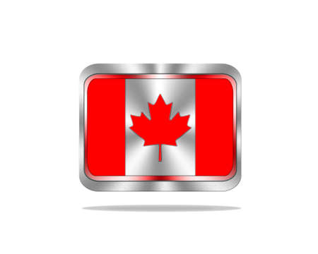 Illustration with a metal Canada flag on white background  illustration