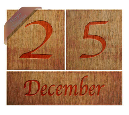 Illustration with a wooden calendar Happy Christmas  illustration
