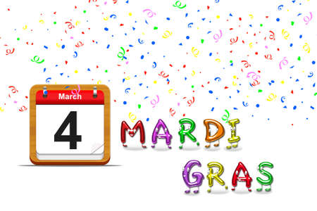 Illustration with a mardi gras calendar 2014 on a green background