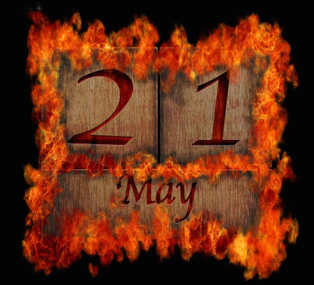 Illustration with a burning wooden calendar May 21