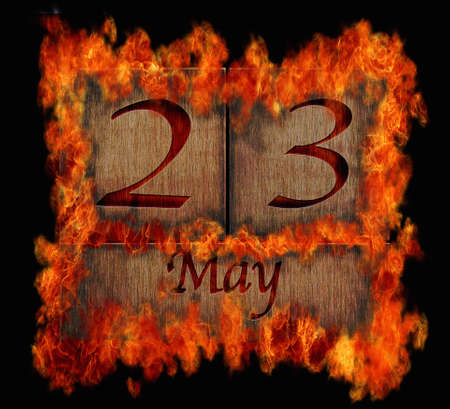 23: Illustration with a burning wooden calendar May 23