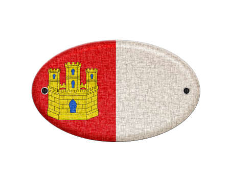 castilla: Illustration with a wooden Castilla La Mancha flag on white background