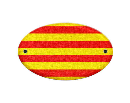 catalonia: Illustration with a wooden Catalonia flag on white background  Stock Photo