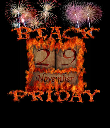Illustration with a burning Black Friday November 29  illustration