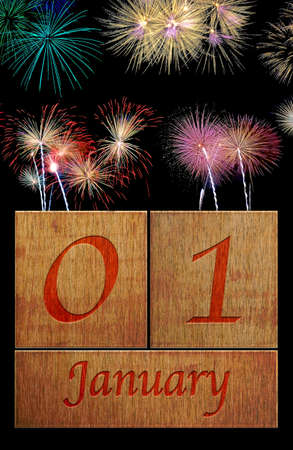 january 1: Illustration with a wooden calendar January 1  Stock Photo