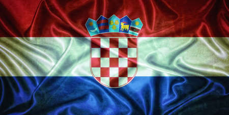 Illustration with an old vintage flag of  Croatia   illustration