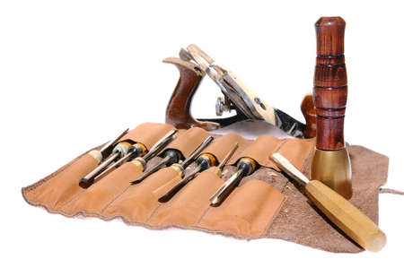 Isolated carpenter tools on a white background photo