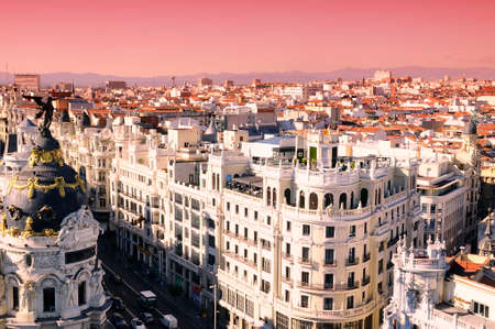 gran via: Sunrise in Gran Via of Madrid, Spain