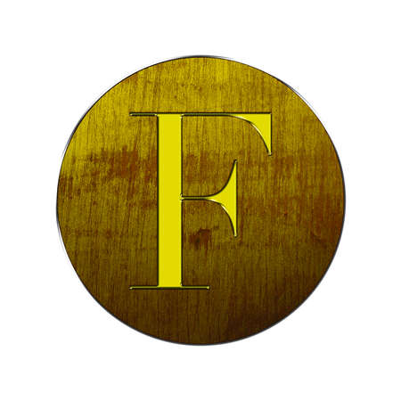 Letter F in gold and wood on white background  photo