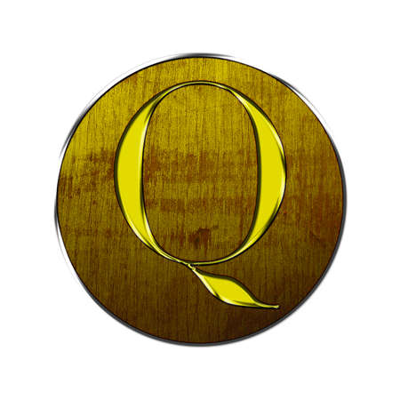 Letter Q in gold and wood on white background  photo