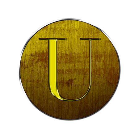 Letter U in gold and wood on white background  photo