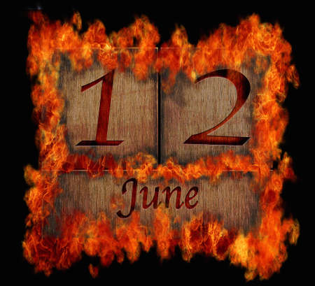 Illustration with a burning wooden calendar June 12  illustration