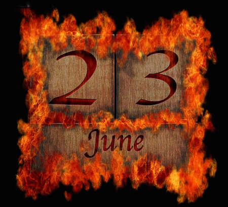 23: Illustration with a burning wooden calendar June 23  Stock Photo