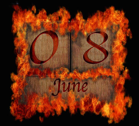 Illustration with a burning wooden calendar June 8  illustration