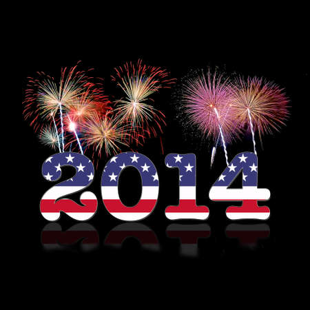 Illustrazione con Usa nuovo anno 2014 su sfondo nero