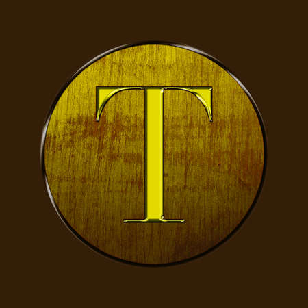 Letter T in gold and wood on brown background  photo