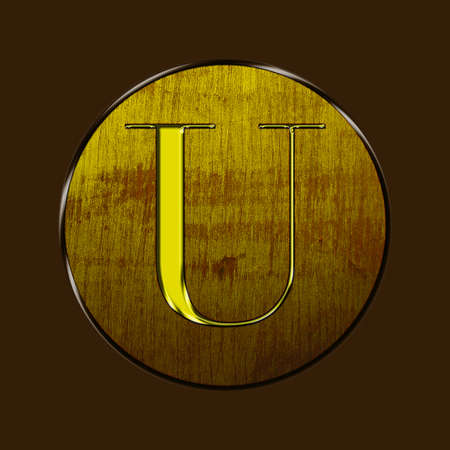 letter u: Letter U in gold and wood on brown background