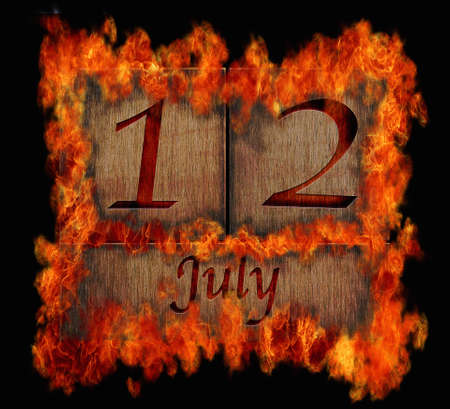 Illustration with a burning wooden calendar July 12  illustration
