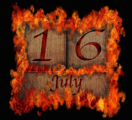 number 16: Illustration with a burning wooden calendar July 16