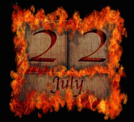 Illustration with a burning wooden calendar July 22 Stock Illustration - 24775750