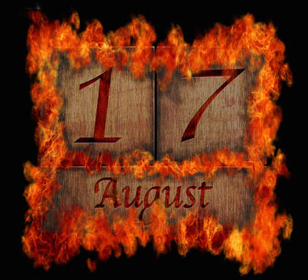 Illustration with a burning wooden calendar August 17 Stock Illustration - 24825805
