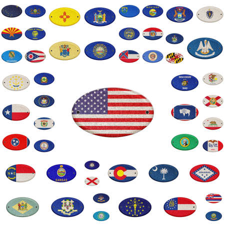 Illustration with a USA states flag on white background  illustration