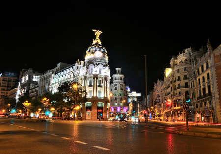 gran via: Night view in Gran via street in Madrid, Spain