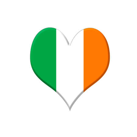 Illustration with a Ireland heart on white background  illustration