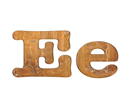 Illustration with E letter in wooden on white background  illustration