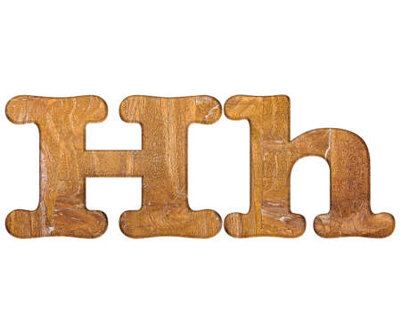 letter h: Illustration with H letter in wooden on white background  Stock Photo