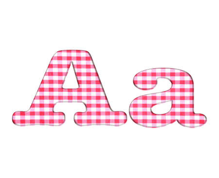Abc red checkered fabric closeup tablecloth texture, letter A  photo