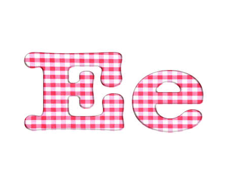 Abc red checkered fabric closeup tablecloth texture, letter E  photo