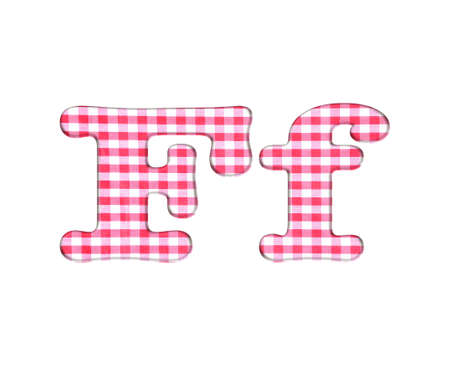 Abc red checkered fabric closeup tablecloth texture, letter F  photo