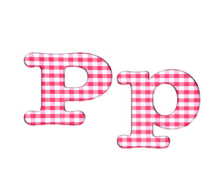 Abc red checkered fabric closeup tablecloth texture, letter P  photo
