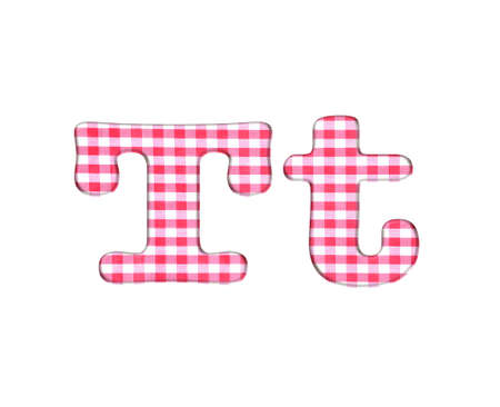 Abc red checkered fabric closeup tablecloth texture, letter T  photo