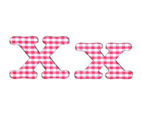 Abc red checkered fabric closeup tablecloth texture, letter X  photo