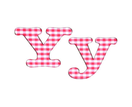 Abc red checkered fabric closeup tablecloth texture, letter Y  photo