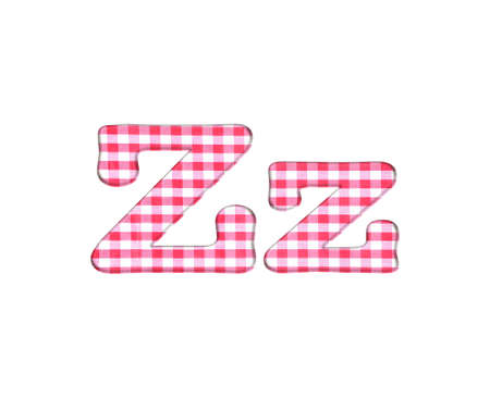 Abc red checkered fabric closeup tablecloth texture, letter Z  photo