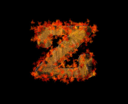 Illustration with a letter Z wooden burning